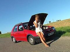 When a car of a Czech Girl brakes down..