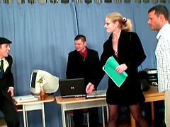 Blonde secretary is also the office..