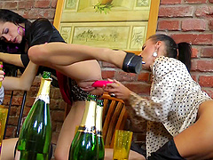 Horny lesbians turning a cool party..