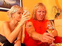 Drunk blonde babe being anally rammed..