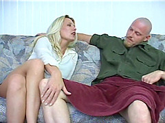 A sexy blonde MILF leans in and gives..