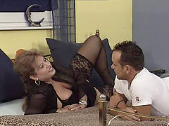 Latina grannie in black stockings gets..