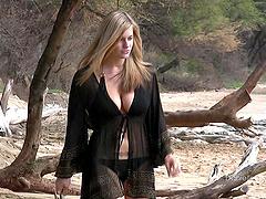 Nympho blonde strips bikini for..