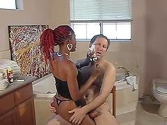 Redhead ebony slave shaves her hairy..