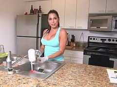 Big tits Latina maid will live to tell..