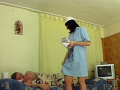 Stunning nurse fucks her much older..