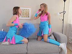 Sexy teen sluts on the sofa licking..