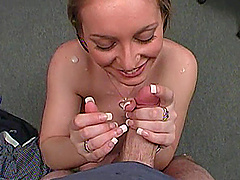 On her knees this pretty amateur gives..
