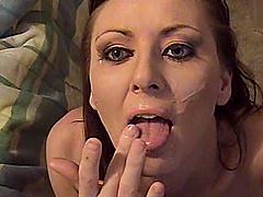 Retro chick in POV porno gets cumshot..