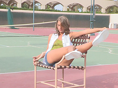 Brunette teen models outdoors before..