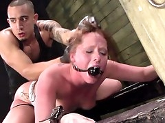 BDSM sensations for sleazy redhead in..