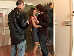 Two couples swap and play during a..