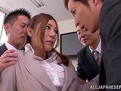 Japanese secretary gets her pussy..