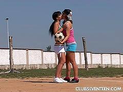Amateur lesbians in sports shorts..
