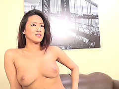A hot Asian girl loves white cock and..
