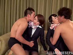 Two hot Japanese friends get fucked by..