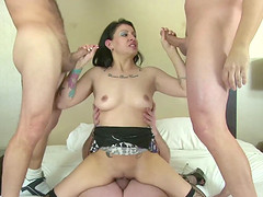 Jerking off and sucking two cocks..