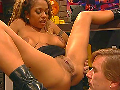 Hot ebony-skinned chick with big..