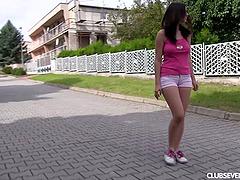 Busty teen masturbating erotically