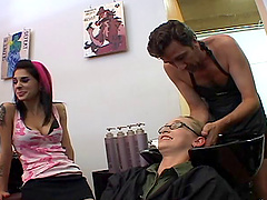 Hairdresser pulls out his cock and..