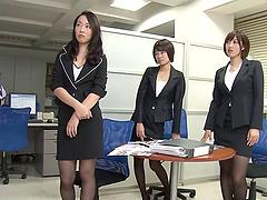 Three hot Japanese office workers..