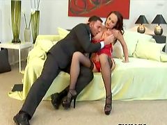 Katy Parker in stockings gets her anal..