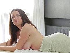 Oiling up a busty Russian babe and..