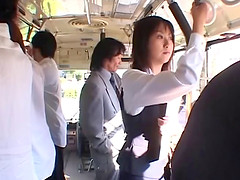 On a public train a Japanese girl gets..
