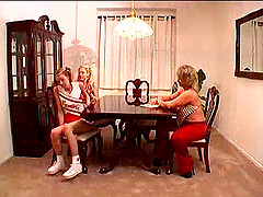 Lesbian cheerleader with long blonde..