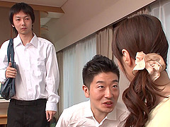 Yummy mummy from Japan gets her pussy..