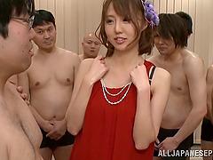 Daring Japanese pornstar gets covered..