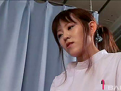 Small tits Asian nurse in uniform gets..