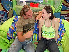 Jeans-clad teen with big beautiful..