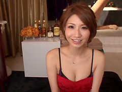 Fishnet-clad Asian babe with a sexy..