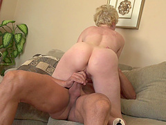 Horny granny is thrilled to have a..