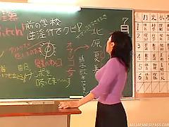 Big tits Japanese teacher milks a fat..
