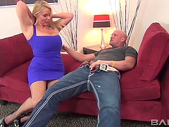 Lonely MILF in fishnets receives the..