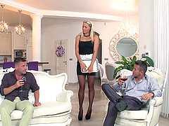 Blonde maid in stockings swallows cum..