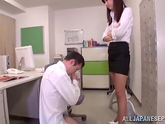 Tall Japanese office domme pleasures..