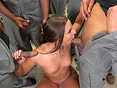 White cum slut blowbanged by a group..