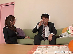 Big tits Japanese vixen rides a hard..