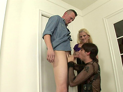 Luscious milf invites two studs over..