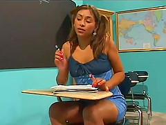 Desirous Latina college girl seduces..