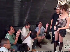 Horny studs watch as Japanese beauty..