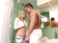 She seduces her stud in the bathroom..