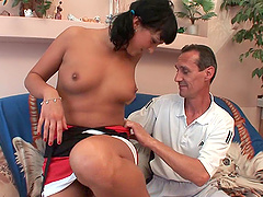 Desirous brunette with pigtails gets..