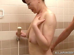 Sexy Japanese mature woman receives..