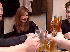Skinny Japanese pornstar controls two..
