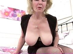 Bawdy grandma in fishnets has sexy big..