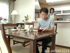 An Asian MILF blows him, fucks him,..